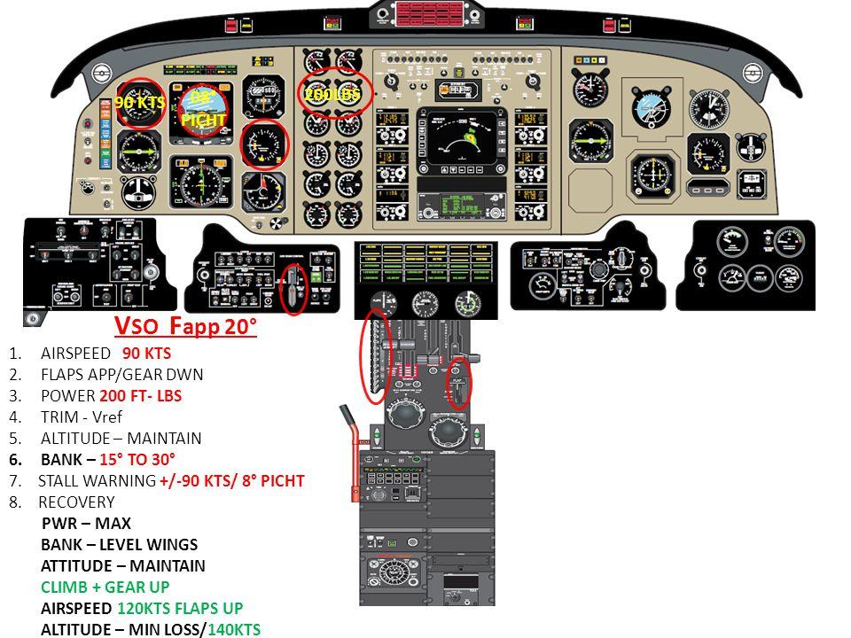 VSO Fapp 20° 08° 200LBS 90 KTS PICHT AIRSPEED 90 KTS