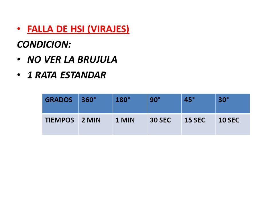 FALLA DE HSI (VIRAJES) CONDICION: NO VER LA BRUJULA 1 RATA ESTANDAR