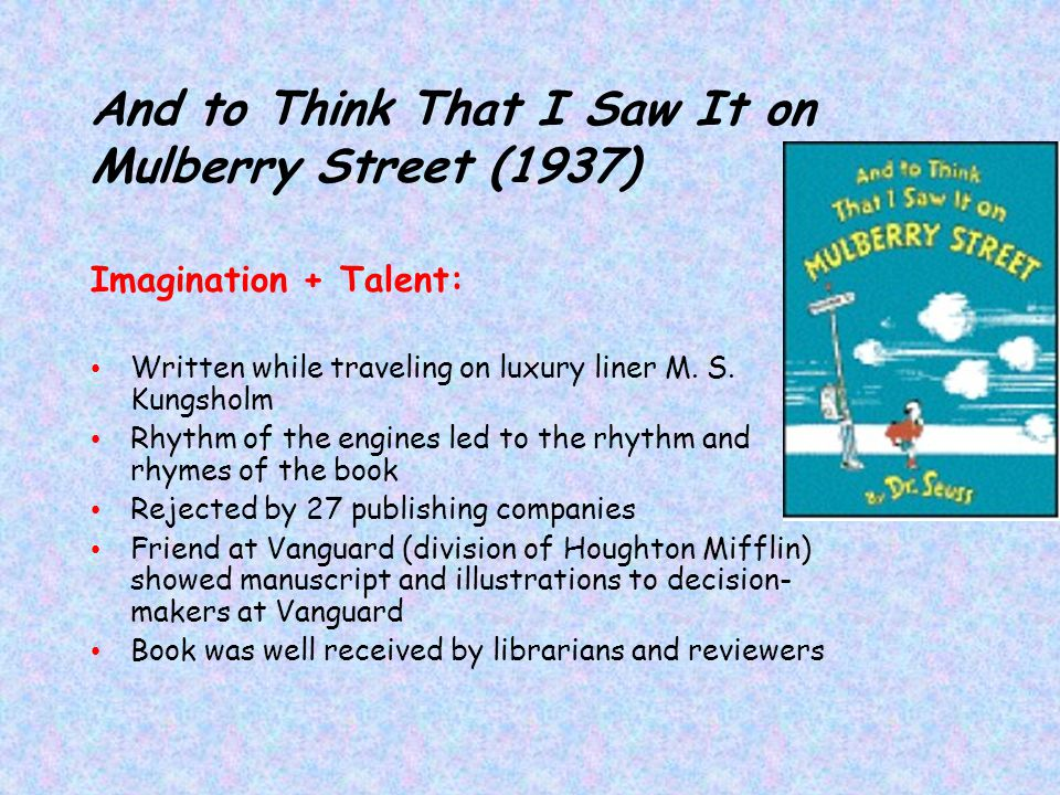 And to Think That I Saw It on Mulberry Street (1937)