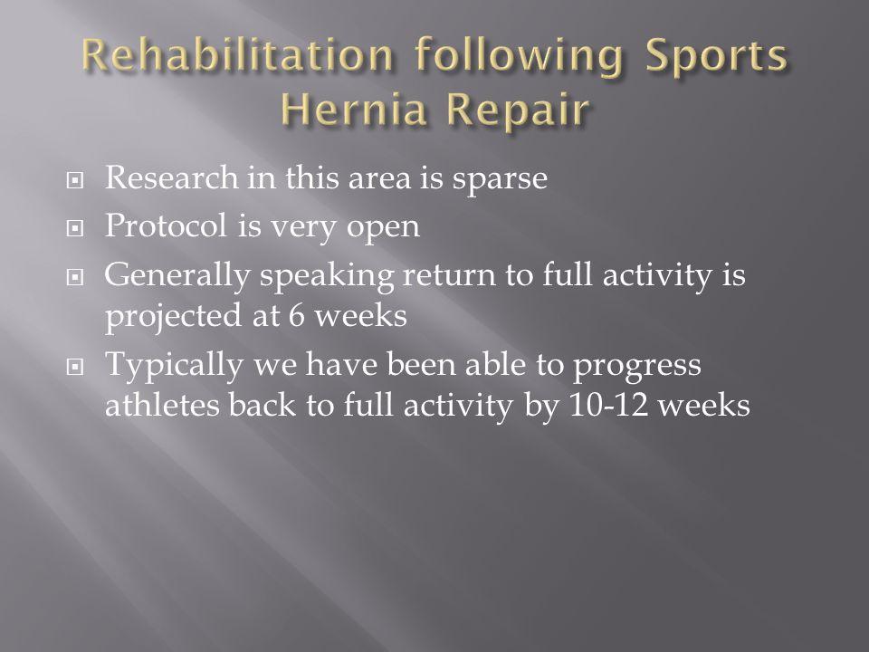 Rehabilitation following Sports Hernia Repair
