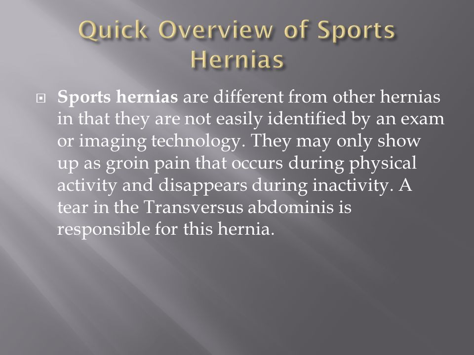 Quick Overview of Sports Hernias