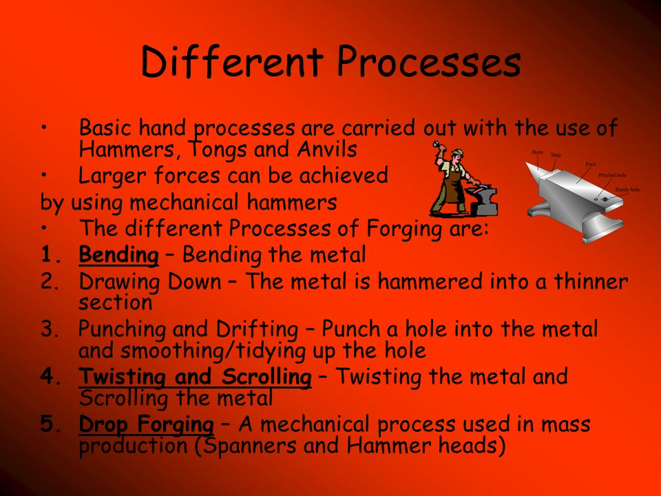 Different Processes Basic hand processes are carried out with the use of Hammers, Tongs and Anvils.