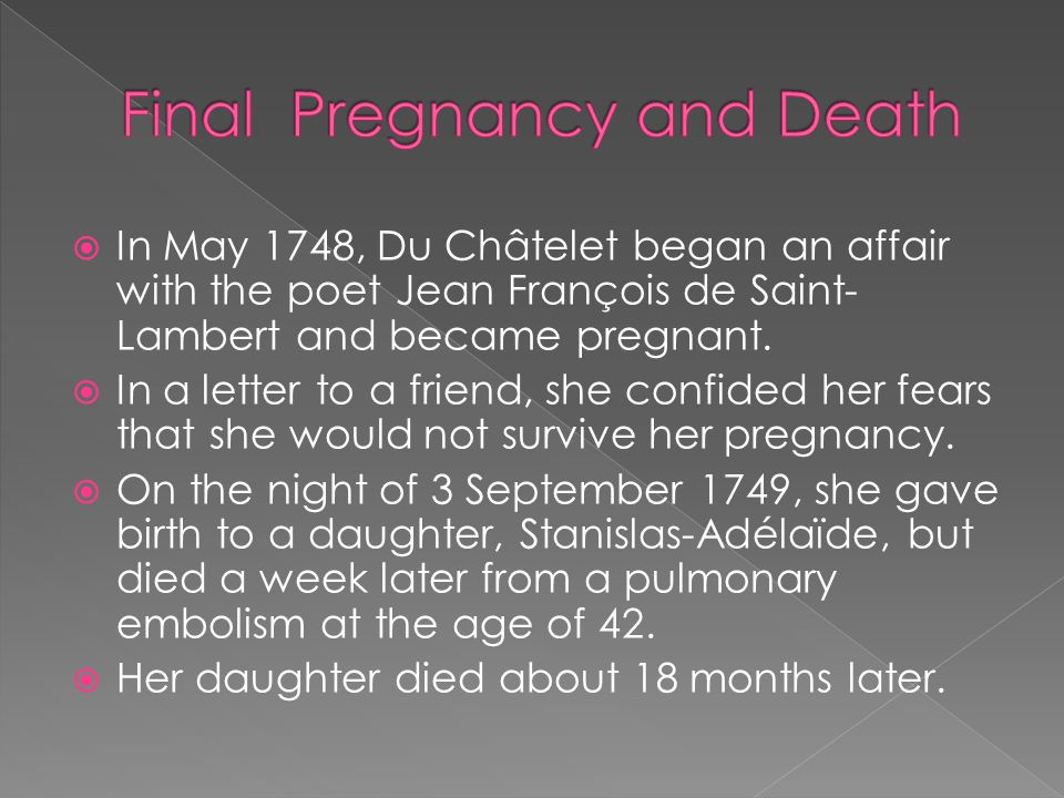 Final Pregnancy and Death