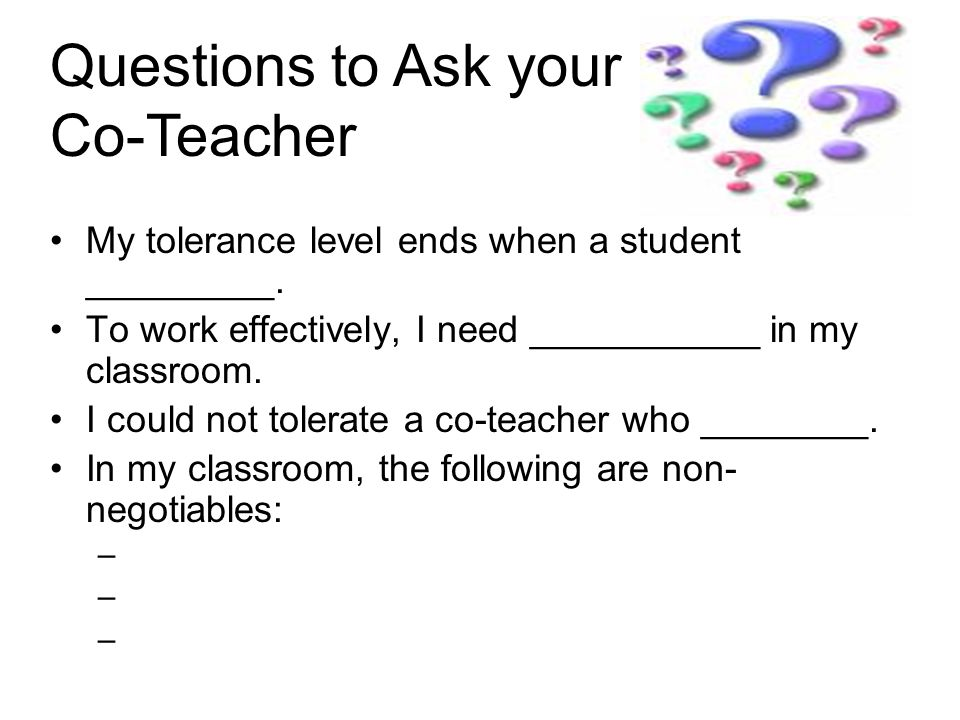 Questions to Ask your Co-Teacher