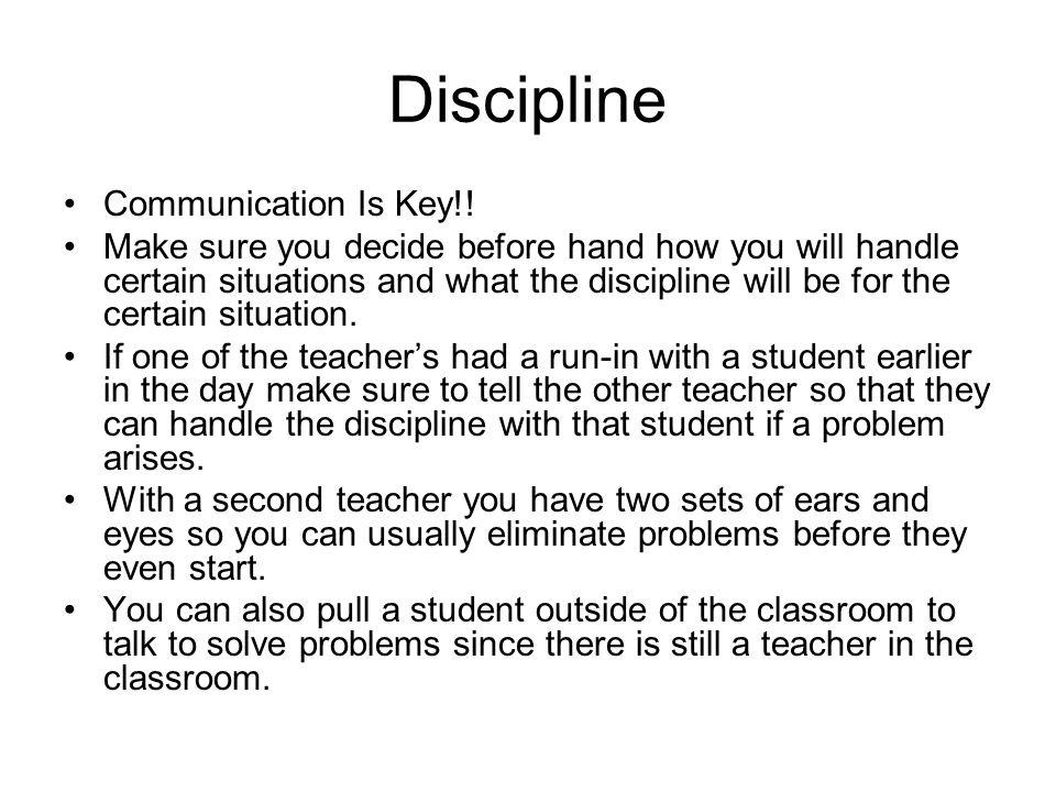 Discipline Communication Is Key!!