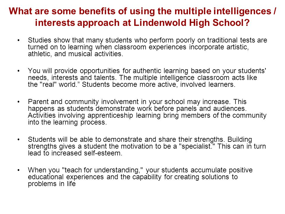 What are some benefits of using the multiple intelligences / interests approach at Lindenwold High School