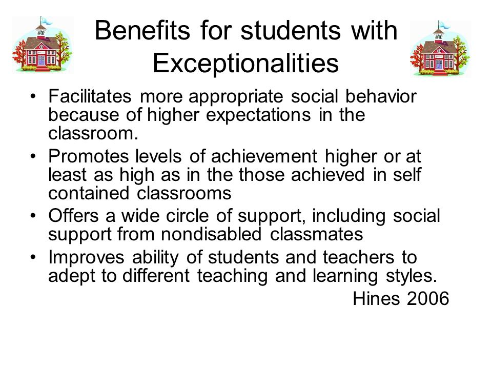 Benefits for students with Exceptionalities