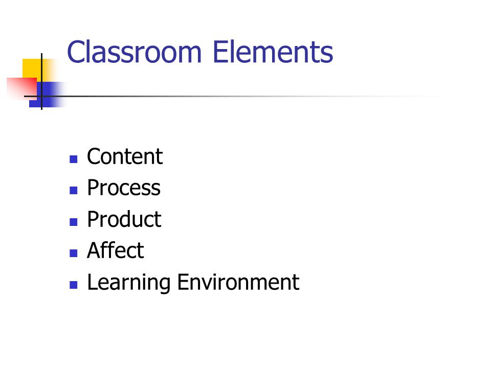 Classroom Elements Content Process Product Affect Learning Environment