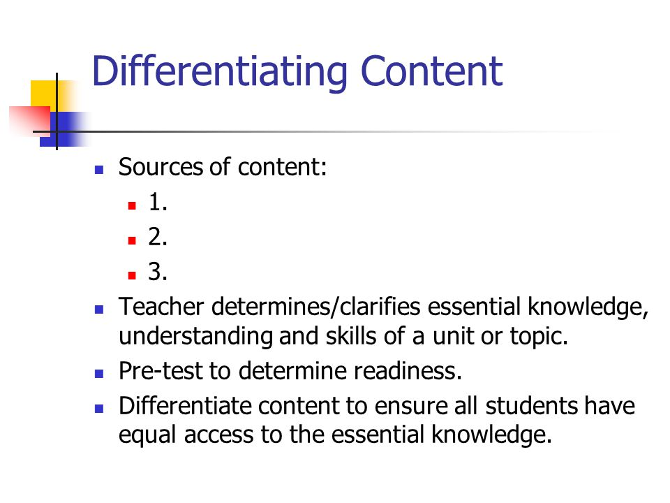 Differentiating Content