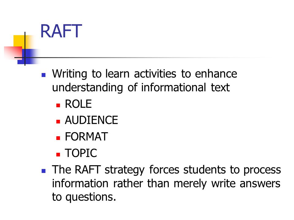 RAFT Writing to learn activities to enhance understanding of informational text. ROLE. AUDIENCE. FORMAT.