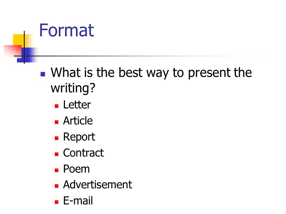Format What is the best way to present the writing Letter Article