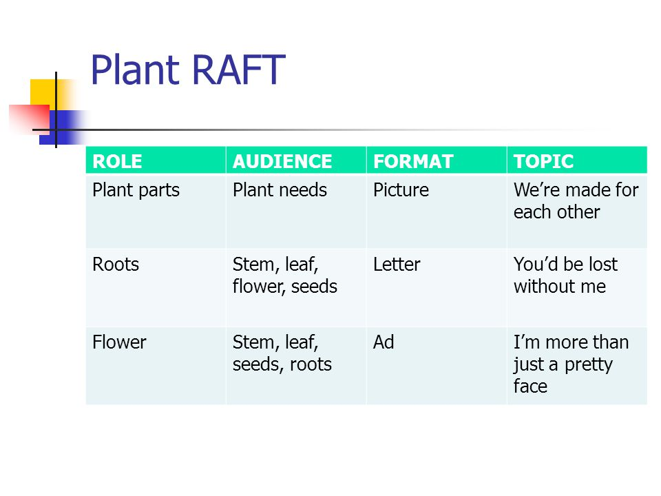 Plant RAFT ROLE AUDIENCE FORMAT TOPIC Plant parts Plant needs Picture