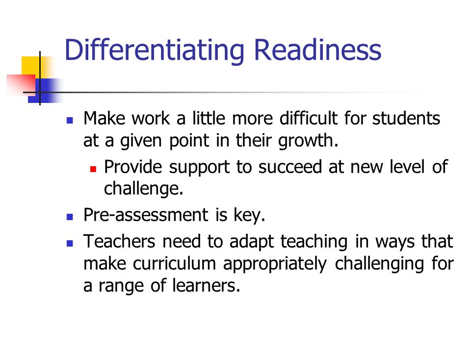 Differentiating Readiness