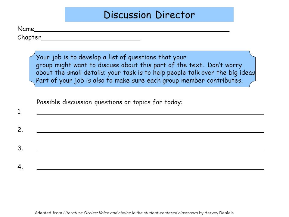 Discussion Director Name_________________________________________________. Chapter_________________________.