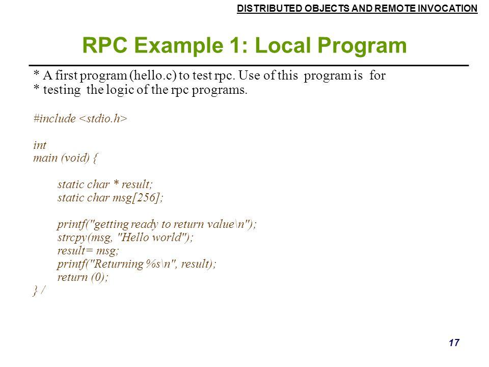 RPC Example 1: Local Program