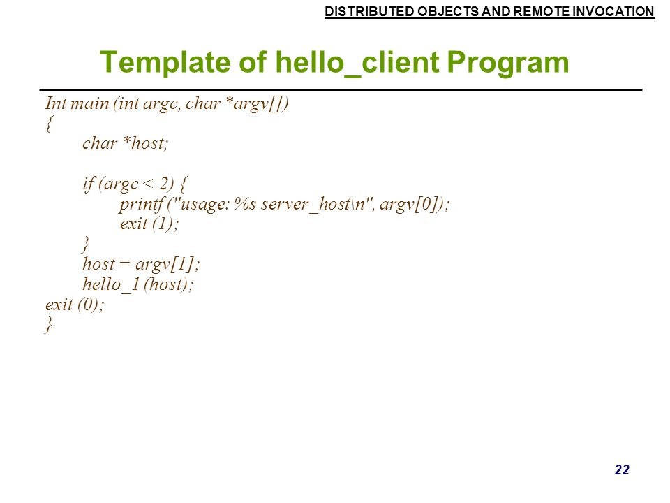 Template of hello_client Program