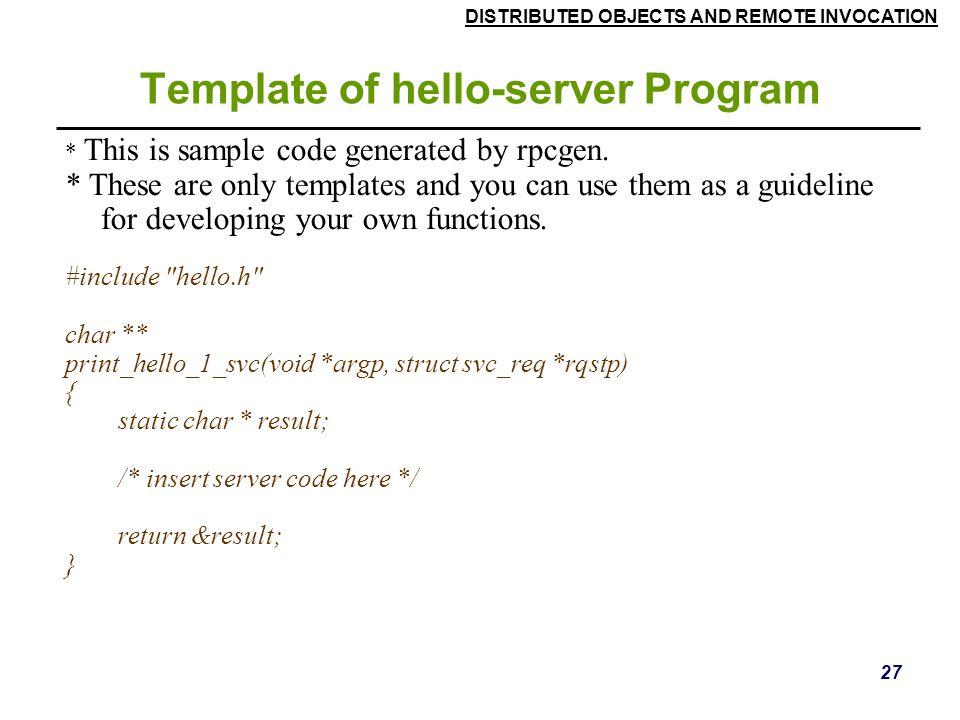 Template of hello-server Program