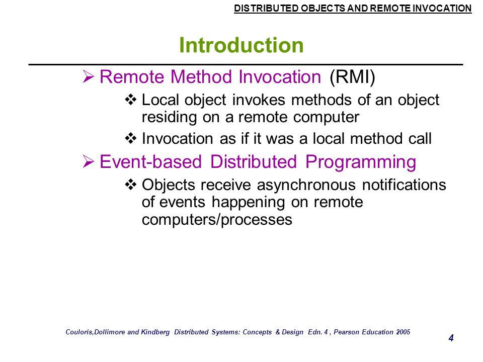 Introduction Remote Method Invocation (RMI)