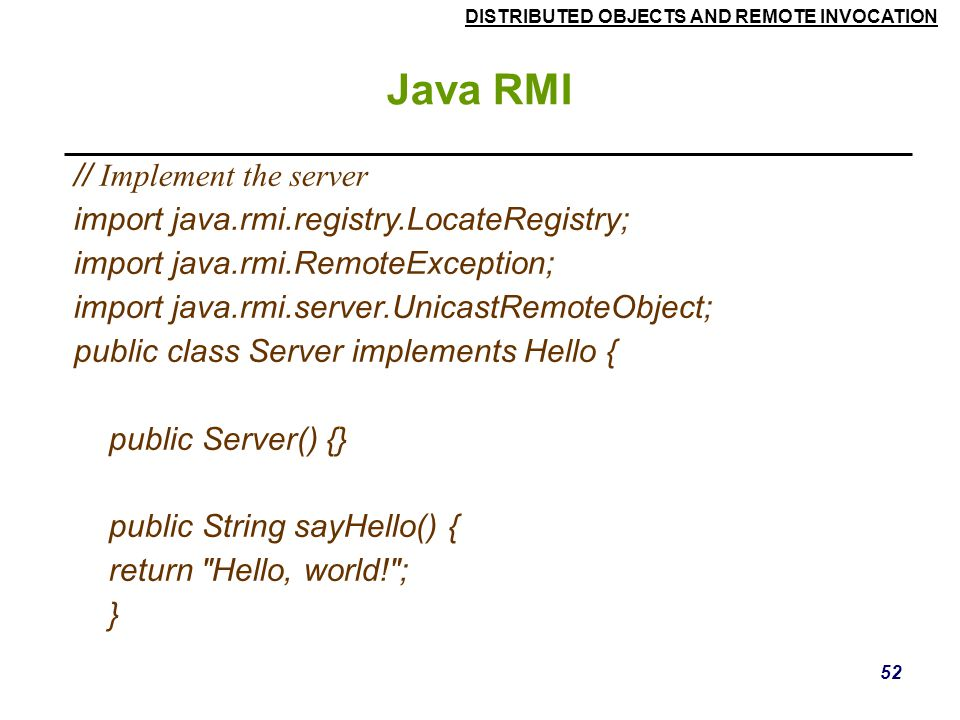 Java RMI // Implement the server