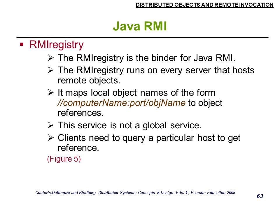 Java RMI RMIregistry The RMIregistry is the binder for Java RMI.