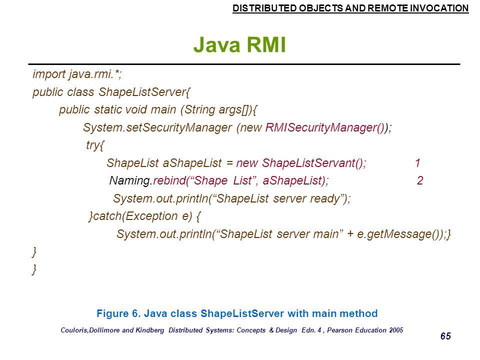 Java RMI import java.rmi.*; public class ShapeListServer{