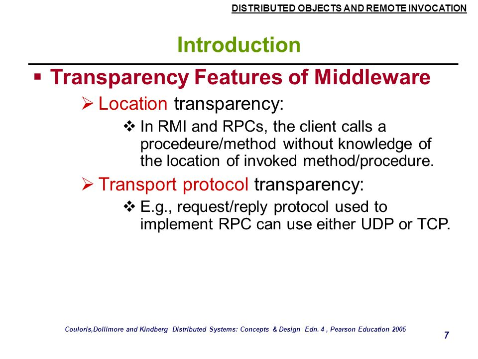 Transparency Features of Middleware