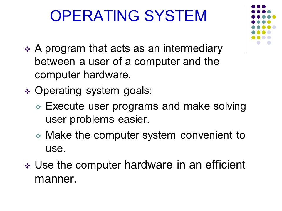 OPERATING SYSTEM A program that acts as an intermediary between a user of a computer and the computer hardware.