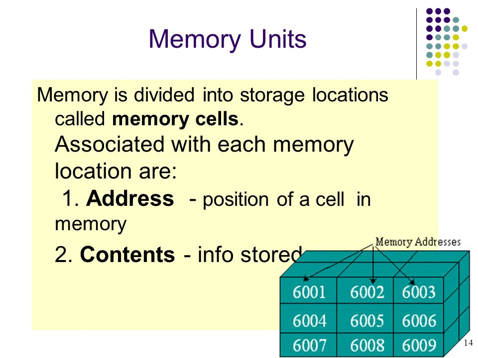 Memory Units 2. Contents - info stored