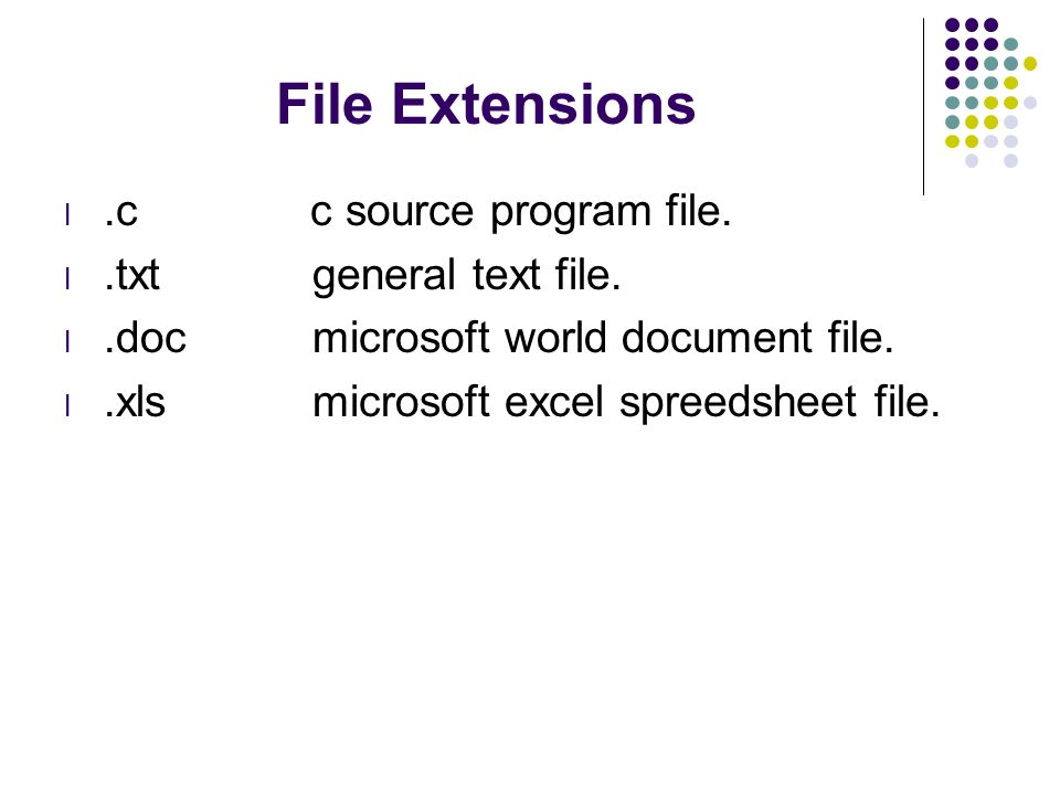 File Extensions .c c source program file. .txt general text file.