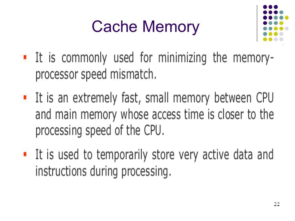 Cache Memory 22