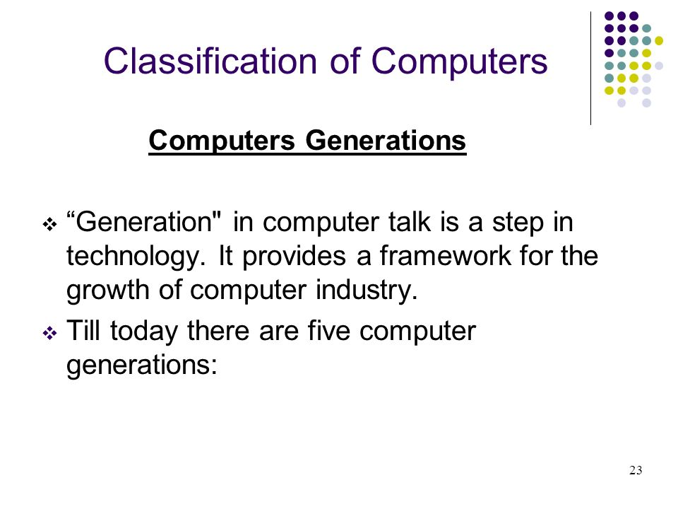 Classification of Computers