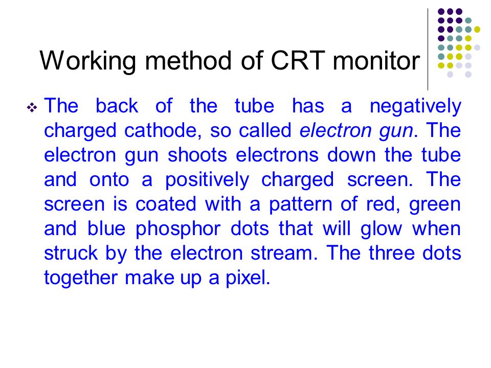 Working method of CRT monitor