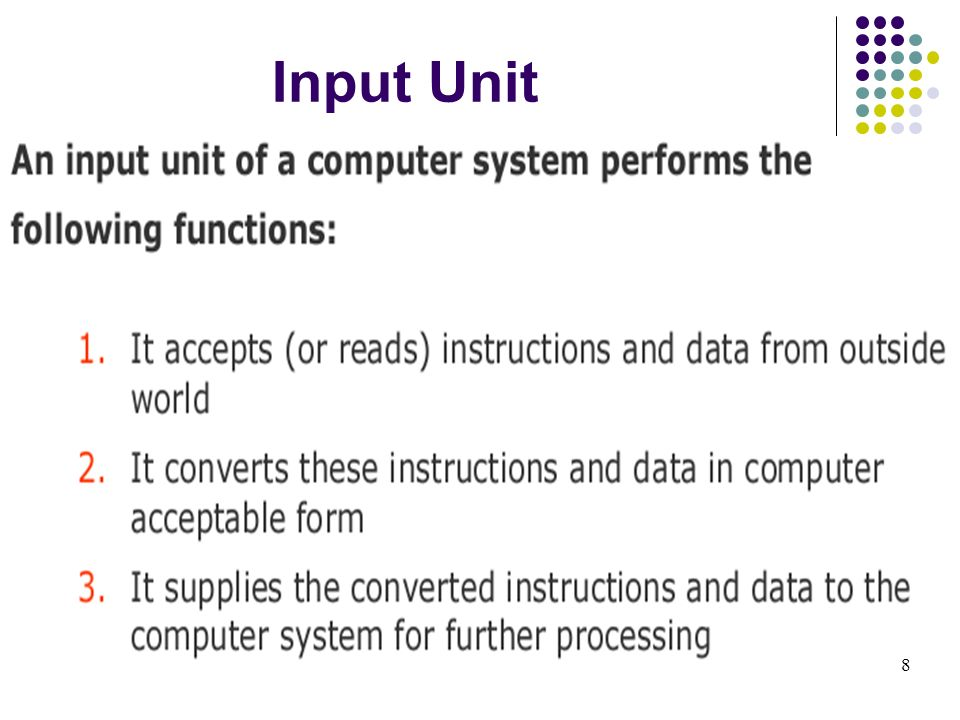 Input Unit 8