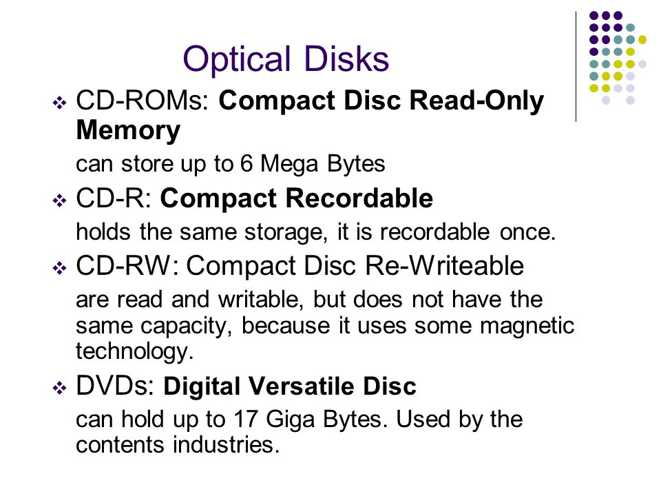Optical Disks CD-ROMs: Compact Disc Read-Only Memory