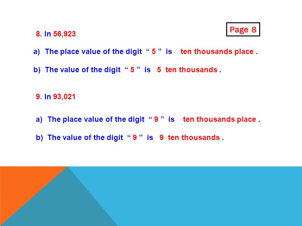 Page 8 8. In 56,923. The place value of the digit 5 is ten thousands place . The value of the digit 5 is 5 ten thousands .