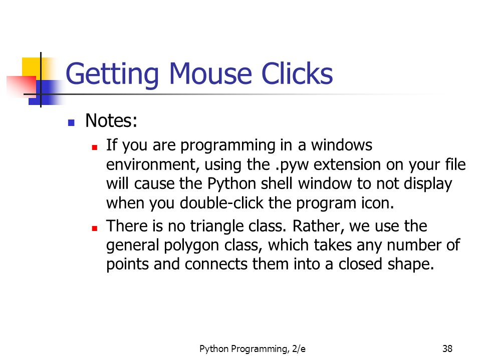 Getting Mouse Clicks Notes: