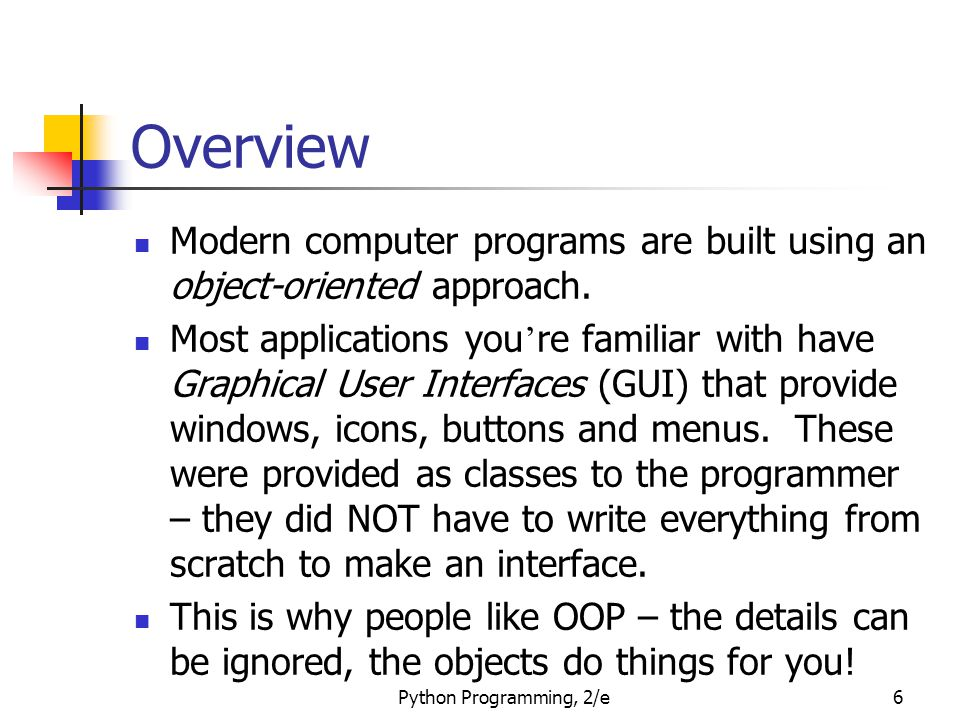 Overview Modern computer programs are built using an object-oriented approach.