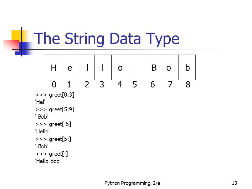 The String Data Type H e l o B b 0 1 2 3 4 5 6 7 8