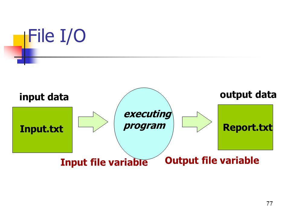 File I/O output data input data executing program Report.txt Input.txt