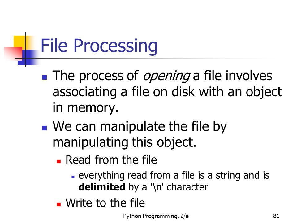 File Processing The process of opening a file involves associating a file on disk with an object in memory.