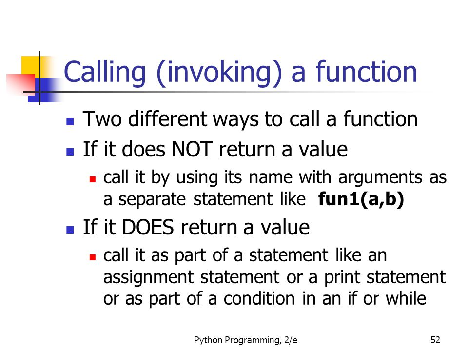 Calling (invoking) a function