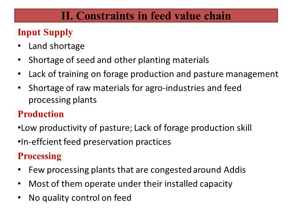 II. Constraints in feed value chain