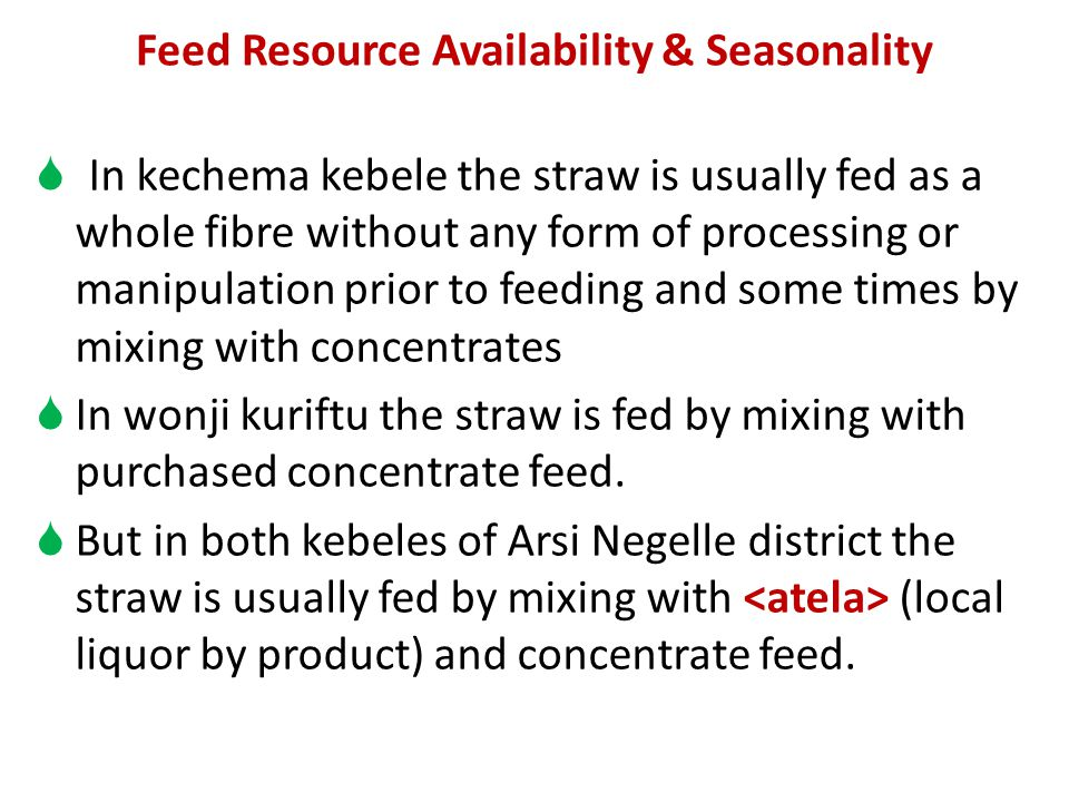 Feed Resource Availability & Seasonality