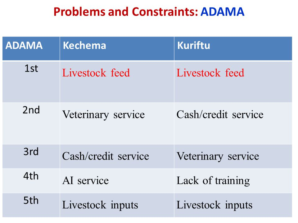 Problems and Constraints: ADAMA
