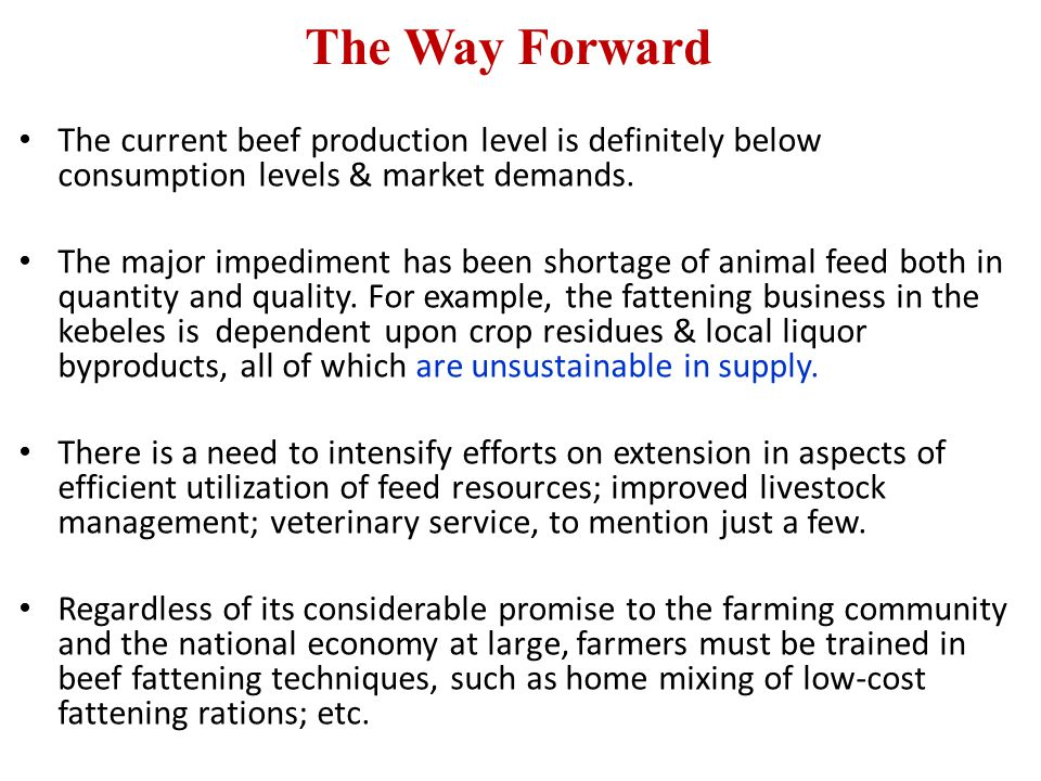 The Way Forward The current beef production level is definitely below consumption levels & market demands.