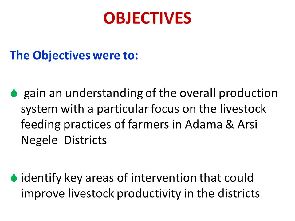 OBJECTIVES The Objectives were to: