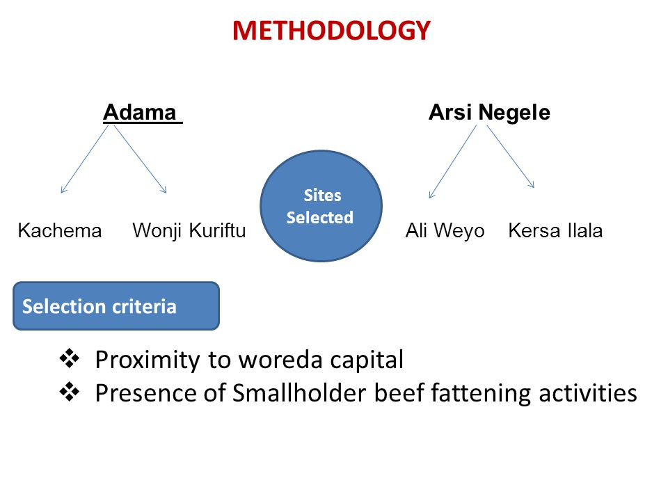 METHODOLOGY Adama Arsi Negele Proximity to woreda capital