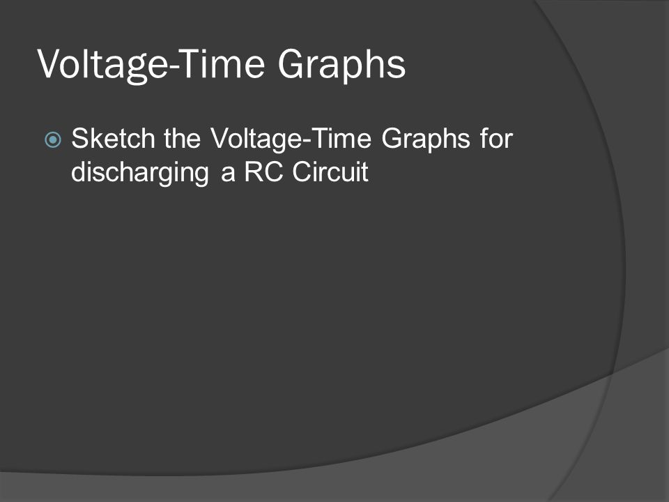 Voltage-Time Graphs Sketch the Voltage-Time Graphs for discharging a RC Circuit