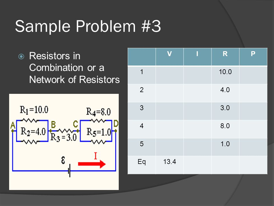 Sample Problem #3 Resistors in Combination or a Network of Resistors V