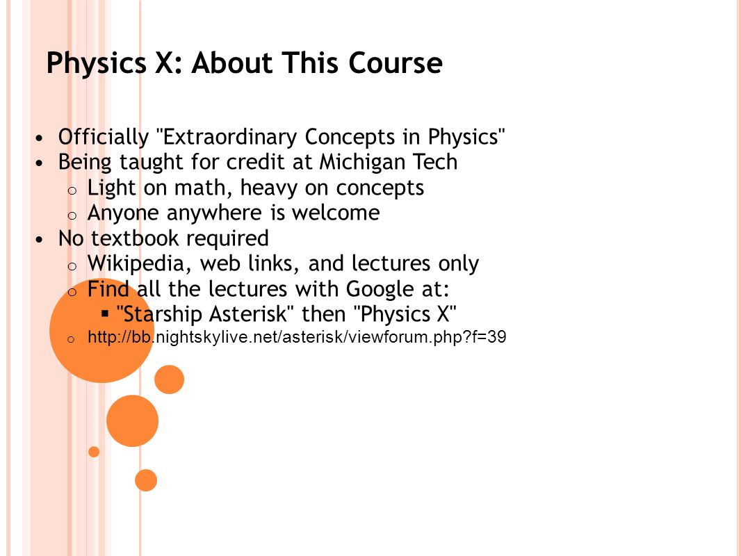 Physics X: About This Course